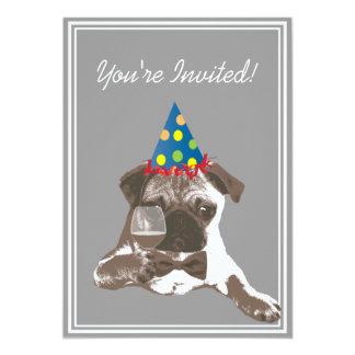 Classy Pug & WIne Birthday Party Invitation