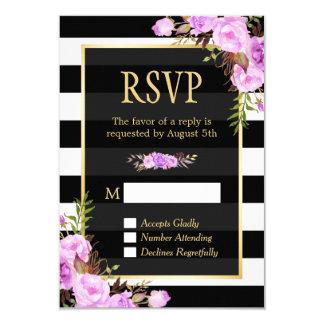 Classy Purple Floral Black White Stripes RSVP Card