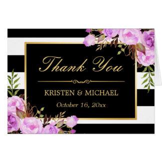 Classy Purple Floral Black White Stripes Thank You Card