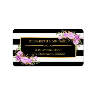 Classy Purple Floral Gold Black White Stripes Label