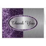 Classy Purple Glitter Brush Steel Metal Look Stationery Note Card