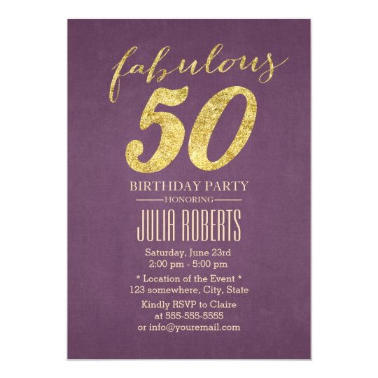 Classy purple gold fabulous 50 birthday invitation zazzle classy purple gold fabulous 50 birthday invitation filmwisefo