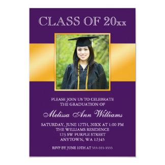 Classy Purple Gold Photo Graduation Announcement