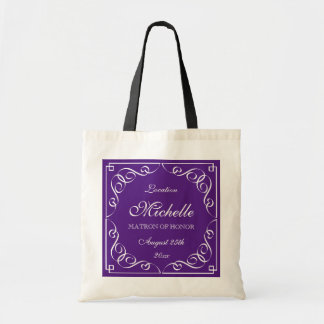 Classy purple matron of honor wedding tote bags