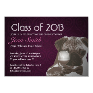 Classy Purple Pug & Wine Graduation Party Invite