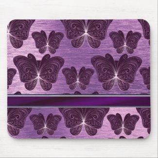 classy purple silvery butterfly pattern mouse pad