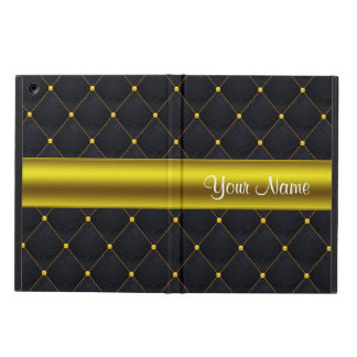 Classy Quilted Black and Gold Personalized Cover For iPad Air