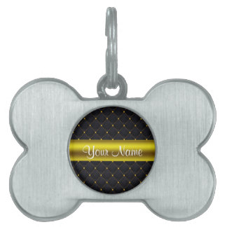 Classy Quilted Black and Gold Personalized Pet Name Tag