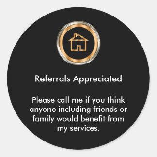 Classy Real Estate Agent Referral Appreciation Classic Round Sticker