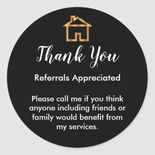Classy Real Estate Agent Referral Thank You Classic Round Sticker