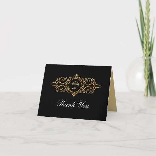 classy real estate thank you cards  zazzle