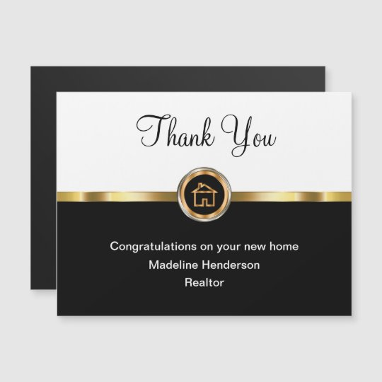 Classy Realtor Magnetic Thank You Cards Zazzle Com
