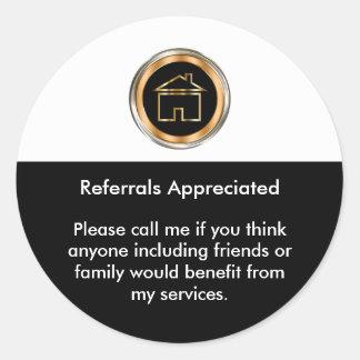 Classy Realtor Referral Appreciation Classic Round Sticker