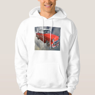 Classy Red 60S Vintage Car, Mens White Hoodie