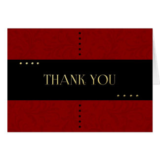 Classy Red and Black Thank You Card