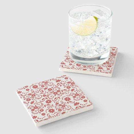 Classy red and white floral stone coaster