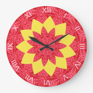 Classy Red and Yellow Geometric Flower Pattern Large Clock