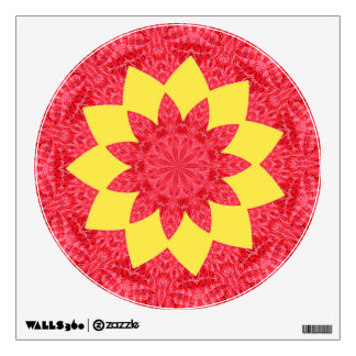 Classy Red and Yellow Geometric Flower Pattern Wall Sticker
