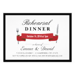 Classy Red Banner Rehearsal Dinner Invitations
