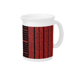 Classy Red Black Flowing Banner Beverage Pitcher