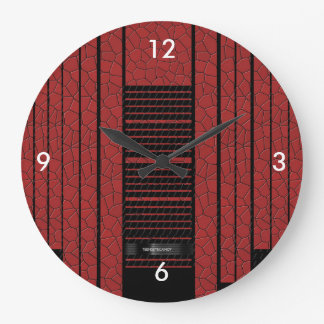 Classy Red Black Flowing Banner Large Clock