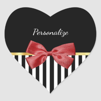 Classy Red Bow Black and White Stripes With Name Heart Sticker