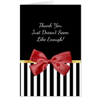 Classy Red Bow Black sand White Stripes Thank You Card