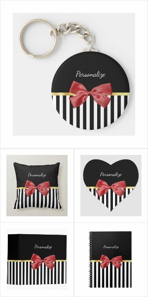 Classy Red Bow With Black Stripes