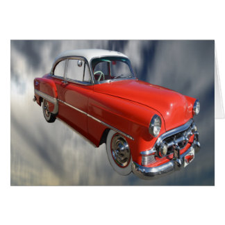Classy Red Classic 60S Car,  Small Greeting Card. Card