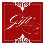 Classy Red Damask Gift Certificate Invite