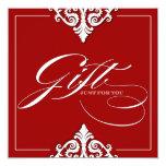 Classy Red Damask Gift Certificate Invite