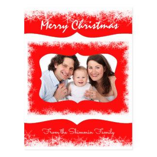 Classy Red Family Greetings Postcard Your Photo