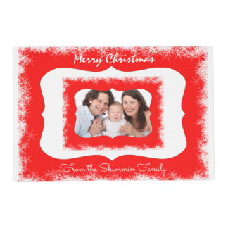 Classy Red Family Merry Christmas Your Photo Placemat