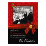 Classy Red Flakes and Black Photo Christmas Card
