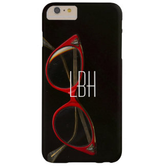 Classy Red Glasses with Custom Monogram Barely There iPhone 6 Plus Case