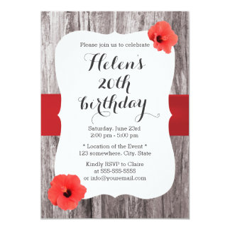 Classy Red Hibiscus Wood Background Birthday Party Card