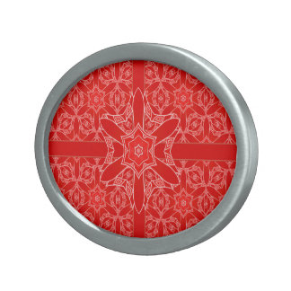 Classy Red Lace Christmas Oval Belt Buckle