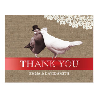 Classy Red Ribbon Love Birds Burlap Thank You Postcard