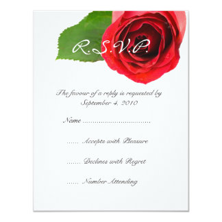 Classy Red Rose Wedding RSVP Card