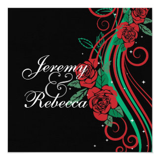 Classy Red Roses and green swirls on black wedding Card