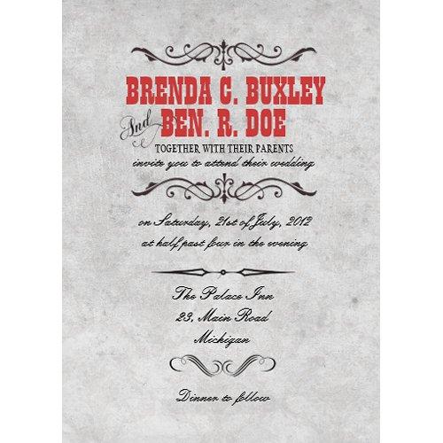 Classy Red Vintage Wedding Invitation invitation