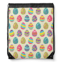 Classy Retro Easter Eggs Happy Easter Day Drawstring Backpack