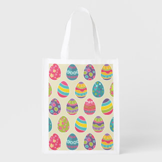 Classy Retro Easter Eggs Happy Easter Day Grocery Bag