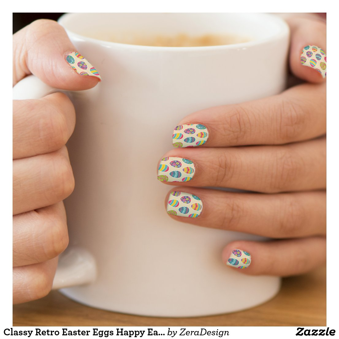 Classy Retro Easter Eggs Happy Easter Day Minx Nail Art