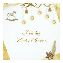 Classy Rocking Horse Neutral Christmas Baby Shower Card