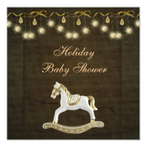 Classy Rocking Horse Neutral Christmas Baby Shower Invitation