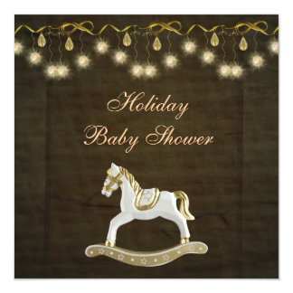 Classy Rocking Horse Neutral Christmas Baby Shower 5.25x5.25 Square Paper Invitation Card