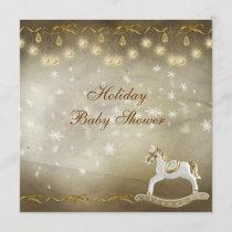 Classy Rocking Horse Neutral Christmas Baby Shower Invitation