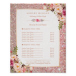 Classy Rose Gold Glitter Floral Beauty Salon Menu Poster