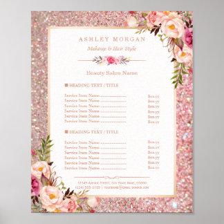 Classy Rose Gold Glitter Floral Beauty Salon Menu Poster